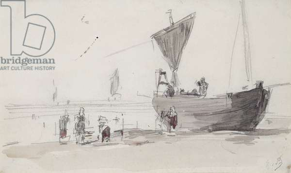 Fishing Boat on the Beach (pencil & w/c on paper)