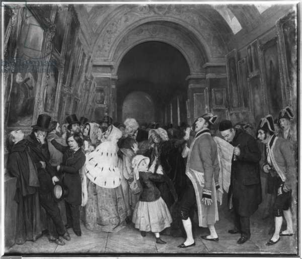Four o'clock, known also as Closing of the annual Salon of Painting partly installed then in the Great Gallery at the Louvre, c.1847 (oil on canvas) (b/w photo)