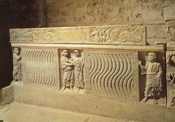 Sarcophagus of Saint Marcelle in the crypt, 5th century AD (stone)