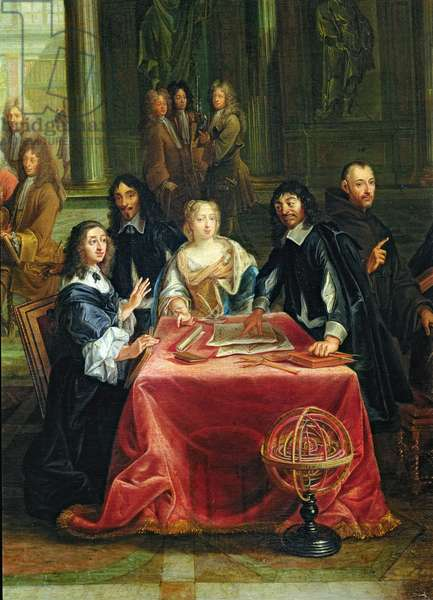 Christina of Sweden (1626-89) and her Court: detail of the Queen and Rene Descartes (1596-1650) at the Table (oil on canvas) (see 28038)