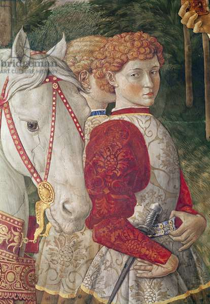 Two Liveried Attendants and the head of Lorenzo the Magnificent's Horse, detail from the Journey of the Magi cycle in the chapel, c.1460 (fresco)