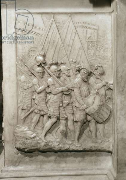 Tomb of Francois I (1494-1547) and his wife, Claude of France, detail of soldiers led by a drummer, commissioned in 1548 (marble)