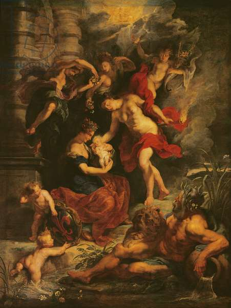 The Medici Cycle: The Birth of Marie de Medici (1573-1647) 26th April 1573, 1621-25 (oil on canvas)