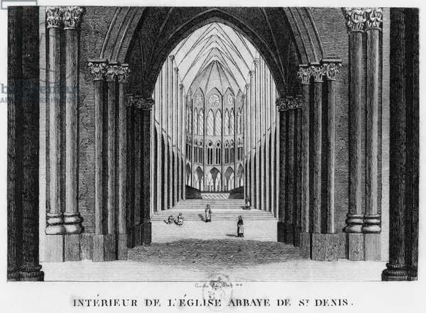 Basilica Saint-Denis, interior view, 1818 (engraving)