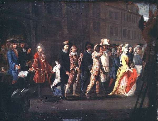 The Return of the Comediens After the Suppression of the Comedie Italienne, 1697 (oil on canvas)