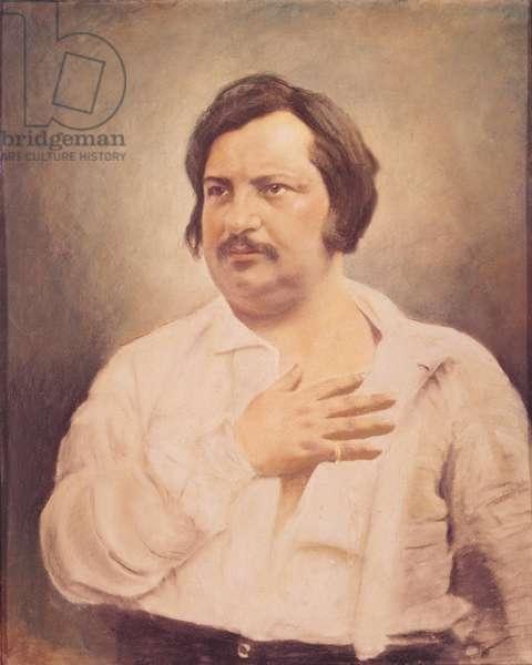 Portrait of Honore de Balzac (1799-1850) after a daguerreotype (oil on canvas)