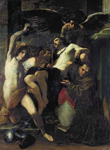 Christ Adored by Angels, St. Sebastian and St. Bonaventure (oil on canvas)
