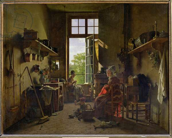Interior of a Kitchen, 1815 (oil on canvas)