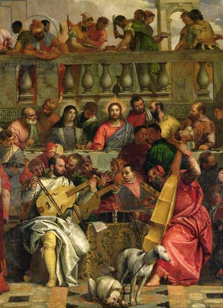 The Marriage Feast at Cana, detail of Christ and musicians, c.1562 (oil on canvas)
