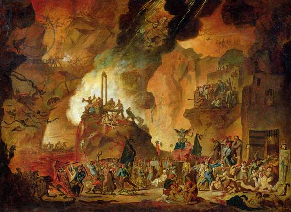 The Triumph of the Guillotine in Hell (oil on canvas)