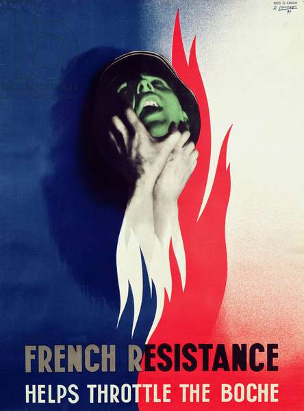 'French Resistance Helps Throttle the Boche', poster from the F.F.I (Forces Francaises de l'Interieur) London, 1944 (colour litho)
