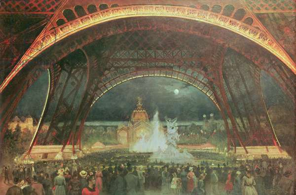 Celebration on the night of the Exposition Universelle in 1889 on the esplanade of the Champs de Mars