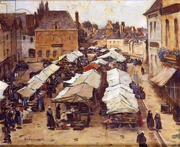 The Market Place at Abbeville (oil on canvas)