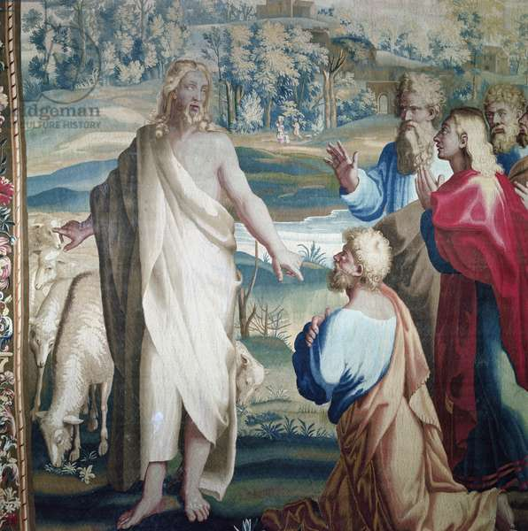 Tapestry depicting the Acts of the Apostles, the calling of Saint Paul (detail of Christ and Saint Peter), woven at the Beauvais Workshop under the direction of Philippe Behagle (1641-1705), 1695-98 (wool tapestry)
