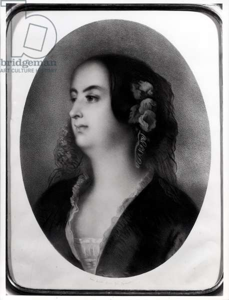 Madame Hanska (1801-82) engraved by Emile Lassalle (1813-71) (lithograph) (b/w photo)