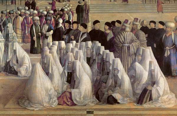 Saint Mark preaching in Alexandria, detail of a group of veiled women, 1504-7 (oil on canvas)
