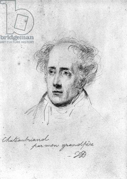 Portrait of Francois Rene (1768-1848) Vicomte de Chateaubriand, c.1829 (pencil on paper) (b/w photo)