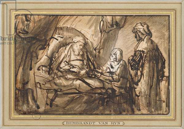 The Benediction of Isaac (pen & ink and wash)