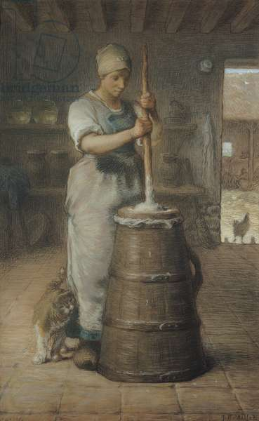 Churning Butter, 1866-68 (pencil & pastel on paper)