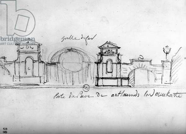 Architectural Sketch from 'Travels in England' , c.1766 (pencil on paper)