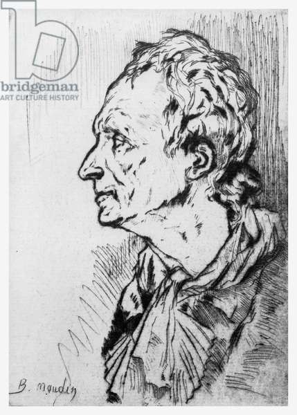 Portrait of Diderot, illustration for 'Rameau's Nephew', by Denis Diderot (litho)