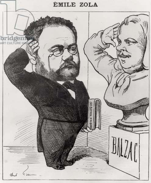 Caricature of Emile Zola (1840-1902) Saluting a Bust of Honore de Balzac (1799-1850) 1878 (engraving) (b/w photo)
