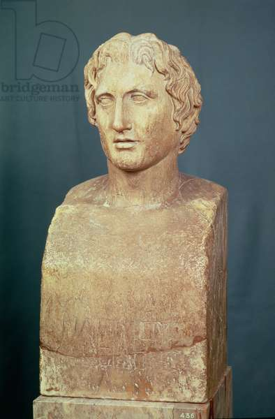 Portrait bust of Alexander the Great (356-323 BC) known as the Azara herm, Greek replica of 4th century BC original (marble)
