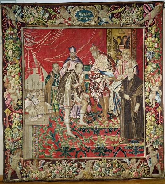 The Abdication of Charles V (1500-58) from 'The Tapestry of Charles Quint', c.1630-40 (tapestry)