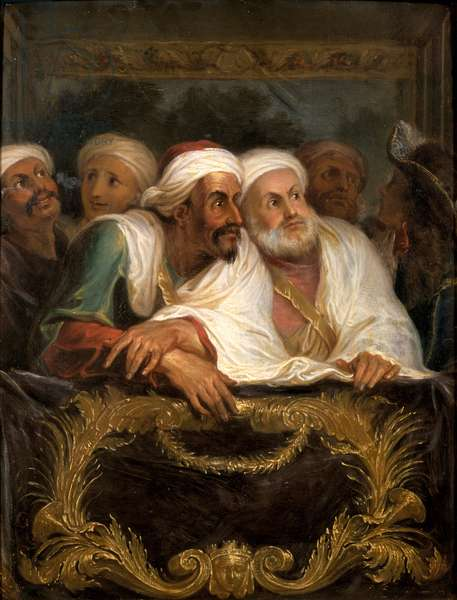 The Moroccan Ambassador and his Entourage at the Italian Comedy in Paris in February 1682, c.1682 (oil on canvas)