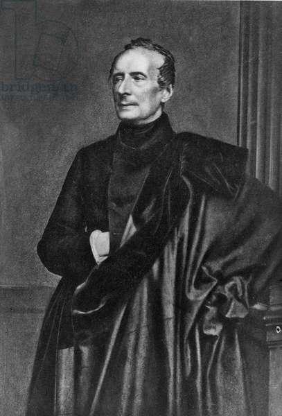 Alphonse de Lamartine aged 70 (litho)