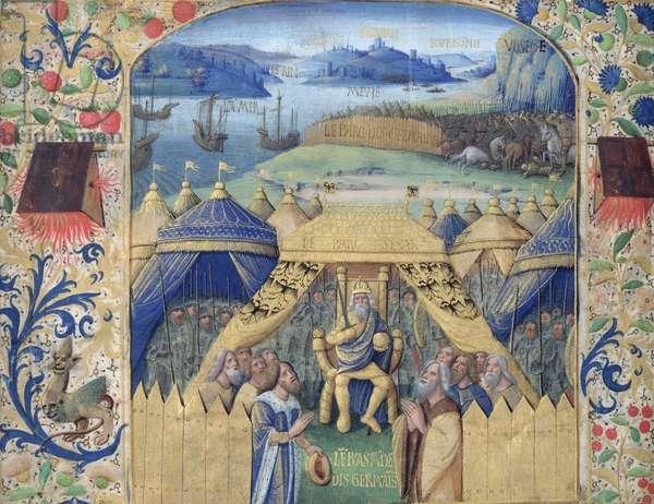 Julius Caesar (100-44 BC) Receiving the Germanic Ambassador, c.1450 (vellum)