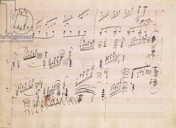 Score sheet of 'Moonlight Sonata' (pen & ink on paper)