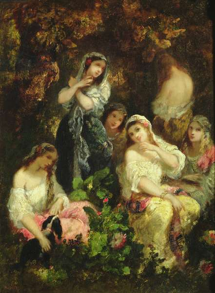 Mad Girls (oil on panel)