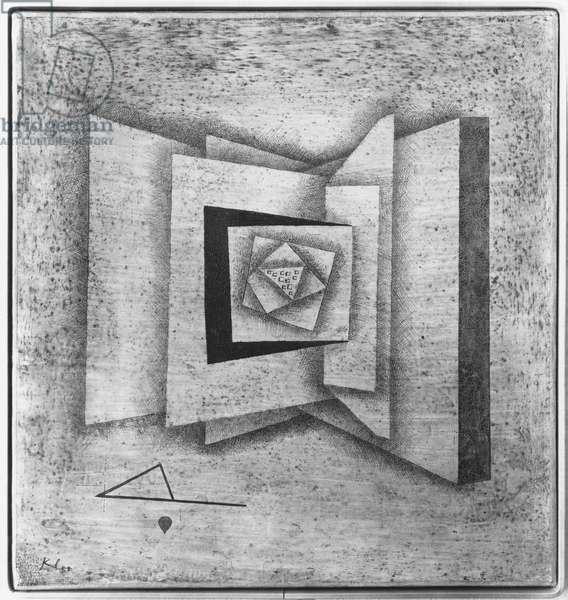 Open book, 1930 (oil on canvas) (b/w photo)