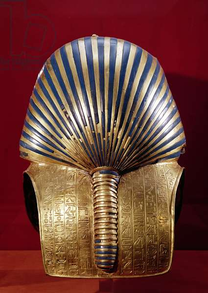 The back of the gold mask, from the Treasure of Tutankhamun (c.1370-1352 BC) New Kingdom, c.1340 BC (gold inlaid with semi-precious stones)