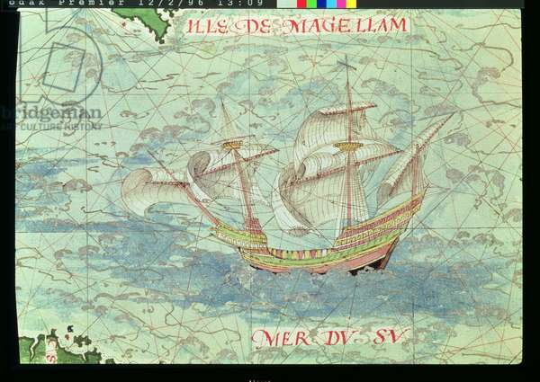 F.41v A Caravel, detail from 'Cosmographie Universelle', 1555 (w/c on paper)