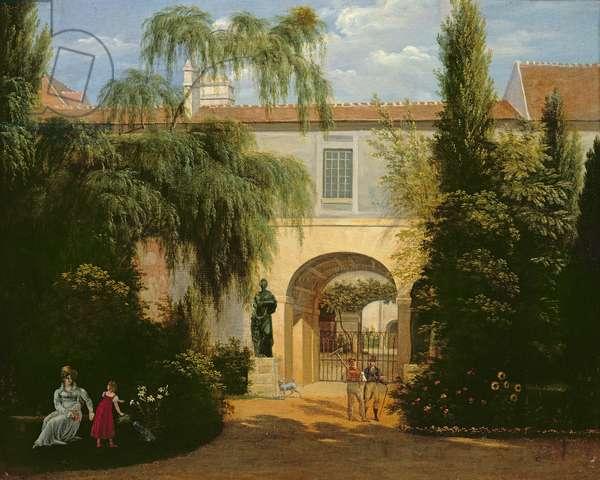 Garden in a courtyard (oil on canvas)