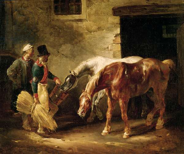 Two Post Horses at the Door of a Stable (oil on canvas)