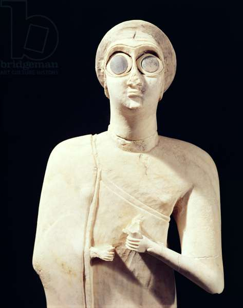 Statue of the Great Goddess, from Tell Asmar, 2800-2300 BC (limestone) (detail of 195515)