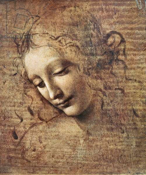 Head of a Young Woman with Tousled Hair or, Leda (gouache on wood)