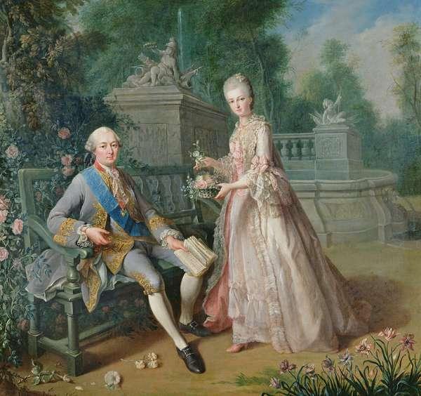 Louis Jean Marie de Bourbon, Duc de Penthievre with his daughter, Louise-Marie Adelaide (oil on canvas)