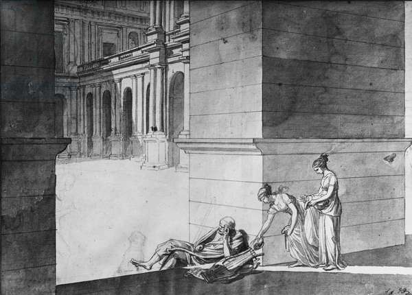 Two young girls bringing bread to Homer asleep, c.1794 (pen & Indian ink on paper)