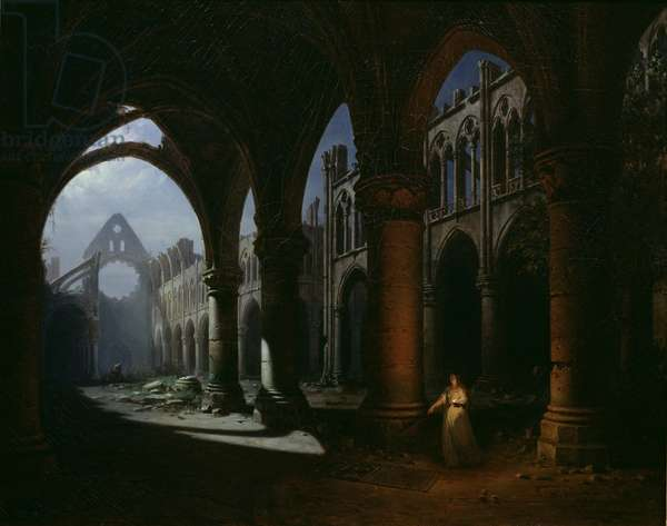 Interior of an Abbey in Ruins, 1848 (oil on canvas)