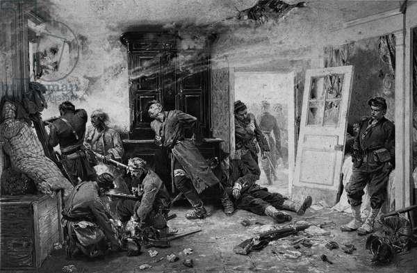 The last cartridges at Balan near Sedan, 1870 (photolitho) (b/w photo)