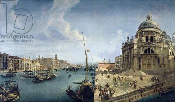 Entrance to the Grand Canal and Santa Maria della Salute, Venice (oil on canvas)