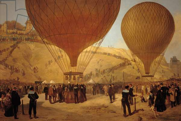 The Departure of Leon Michel Gambetta (1838-82) in the Balloon 'L'Armand-Barbes', 7 October 1870 (oil on canvas)