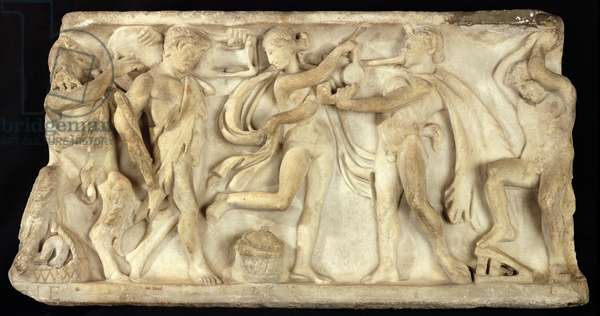 Fragment of a sarcophagus depicting satyrs and a maenad (stone)