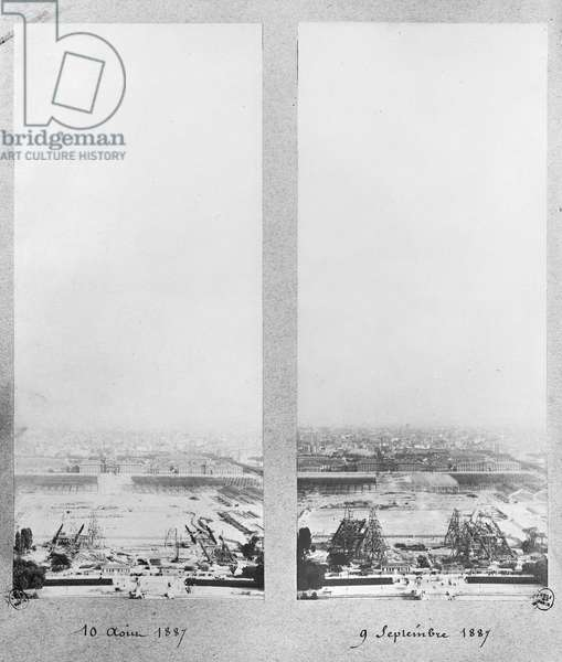 Two views of the construction of the Eiffel Tower, Paris, 10th August and 9th September 1887 (b/w photo)