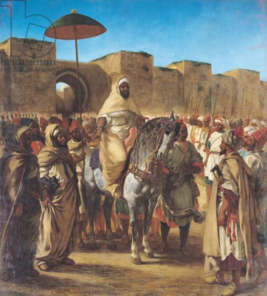 Muley Abd-ar-Rhaman (1789-1859), The Sultan of Morocco, leaving his Palace of Meknes with his entourage, March 1832, 1845 (oil on canvas)