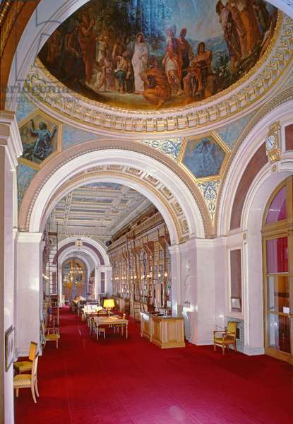 Interior of the library with a cupola painted by Eugene Delacroix (1798-1863) in 1847, 1836-41 (photo)